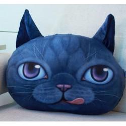 Grand coussin chat 3D bleu