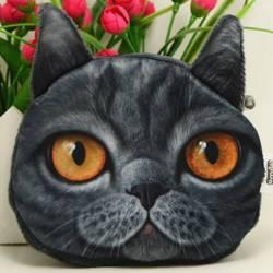 Porte-monnaie tête de chat 3D gris