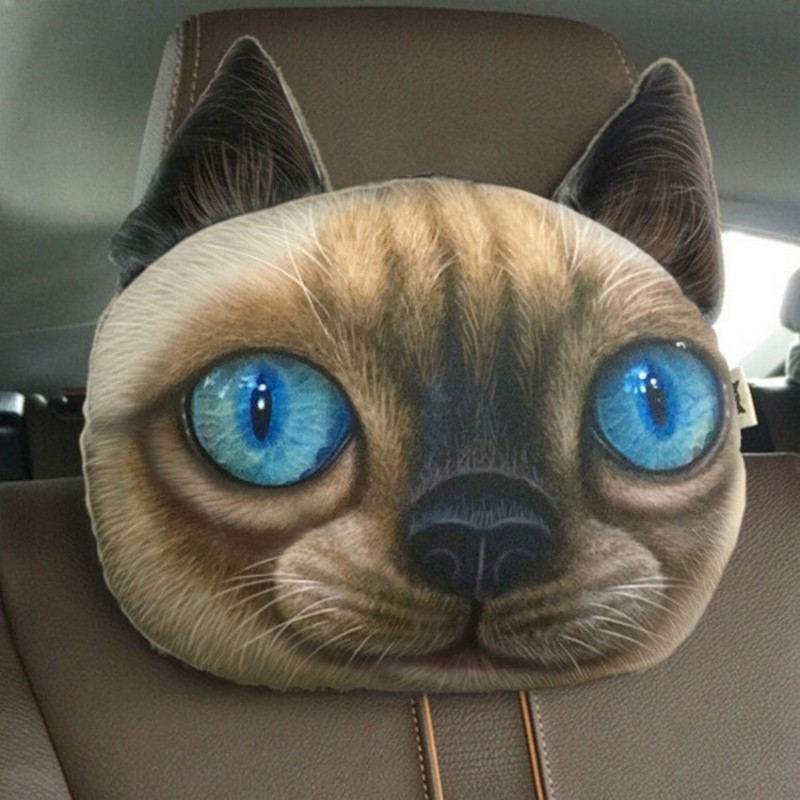 Coussin chat siamois 3D appui tête.