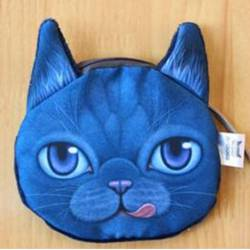 Porte-monnaie tête de chat 3D bleu