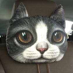 Coussin chat gris et blanc 3D appui tête