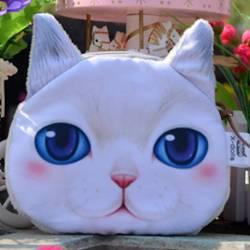Grand porte-monnaie tête de chat blanc