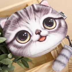 Grand porte-monnaie tête de chat 3D gris tigré