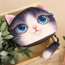 Porte-monnaie tête de chat 3D gris blanc