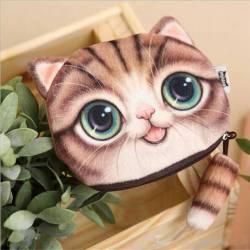 Porte-monnaie tête de chat 3D rose