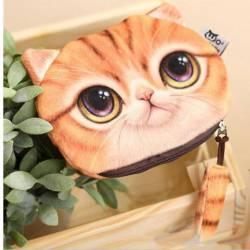 Porte-monnaie tête de chat 3D roux