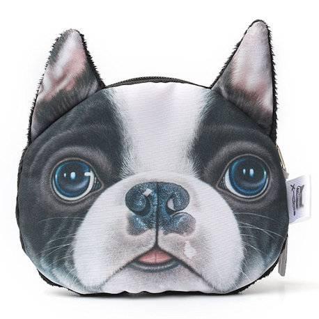 Porte-monnaie tête de chien 3D boston terrier