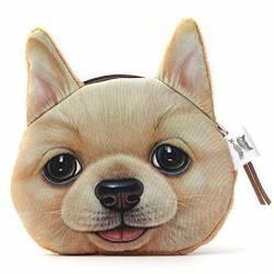 Porte-monnaie tête de chien 3D beige clair