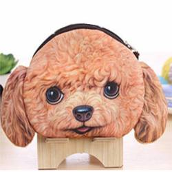 Porte-monnaie tête de chien 3D caniche