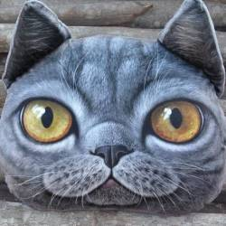 Grand coussin chat 3D gris foncé