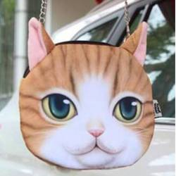 Sac à main bandoulière tête de chat roux 3D