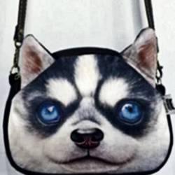 Sac à main bandoulière tête de chien 3D husky