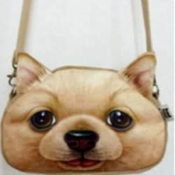 Sac à main bandoulière tête de chien beige 3D