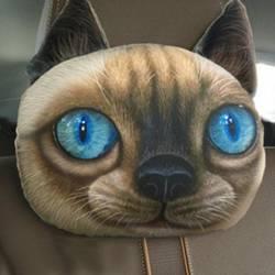 Coussin chat siamois 3D appui tête de voiture.