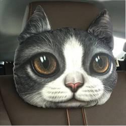 Coussin chat gris et blanc 3D appui tête de voiture.