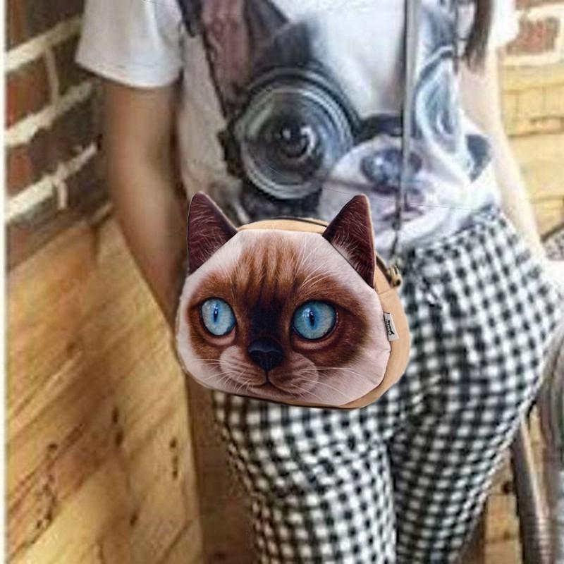 Sac à main bandoulière tête de chat 3D siamois PU
