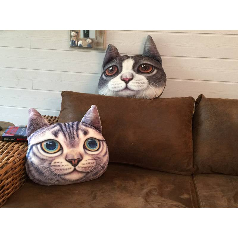 grand coussin chat gris tigr. Black Bedroom Furniture Sets. Home Design Ideas