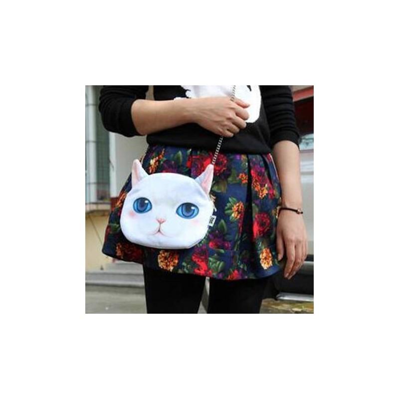 Sac à main bandoulière tête de chat blanc 3D