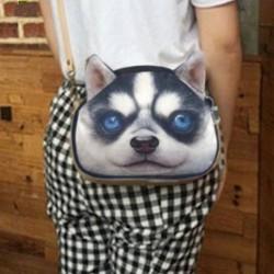 Sac à main bandoulière tête de chien 3D husky  PU cuir