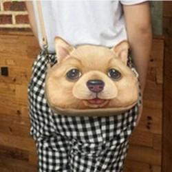 Sac à main bandoulière tête de chien beige 3D  PU cuir