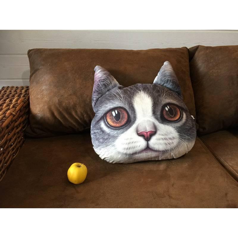 coussin chat 3d gris et blanc. Black Bedroom Furniture Sets. Home Design Ideas