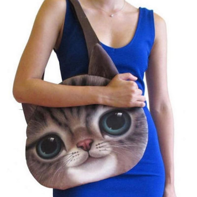 Grand sac  Bandoulière tête de chat  marron