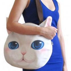 Grand sac Bandoulière tête de chat  blanc