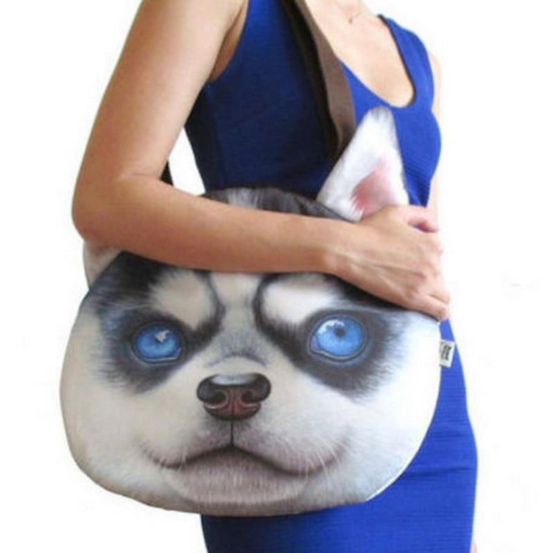 Grand Sac  Bandoulière tête de chien  husky
