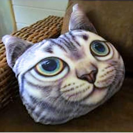 Grand coussin chat 3D gris tigré