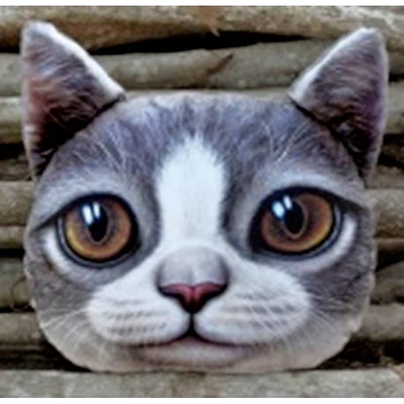 Grand coussin chat 3 D gris et blanc